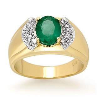 2.15 ctw Emerald & Diamond Men's Ring 10k Yellow Gold -