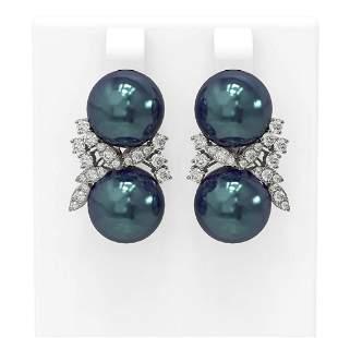 0.96 ctw Diamond & Pearl Earrings 18K White Gold -