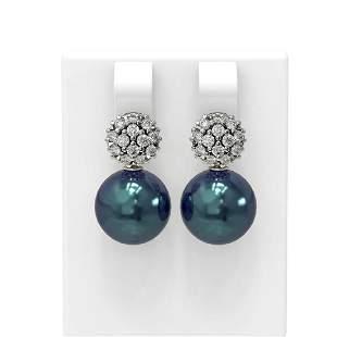 0.63 ctw Diamond & Pearl Earrings 18K White Gold -