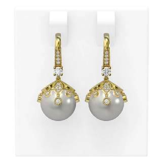 1 ctw Diamond & Pearl Earrings 18K Yellow Gold -