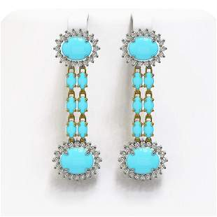 7.39 ctw Turquoise & Diamond Earrings 14K Yellow Gold -