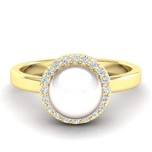 0.25 ctw Micro Pave VS/SI Diamond Certified & Pearl
