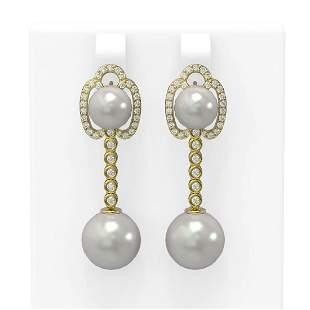 0.63 ctw Diamond & Pearl Earrings 18K Yellow Gold -