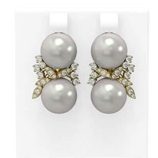 0.96 ctw Diamond & Pearl Earrings 18K Yellow Gold -