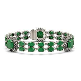 21.83 ctw Emerald & Diamond Bracelet 14K White Gold -