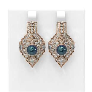 4.14 ctw Diamond & Pearl Earrings 18K Rose Gold -