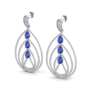 4 ctw Tanzanite & Micro Pave VS/SI Diamond Earrings 18k