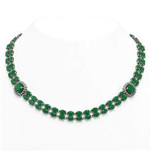 43.97 ctw Emerald & Diamond Necklace 14K White Gold -