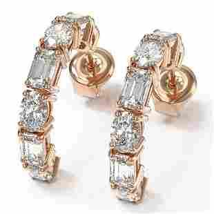 4.86 ctw Emerald & Oval Cut Diamond Earrings 18K Rose
