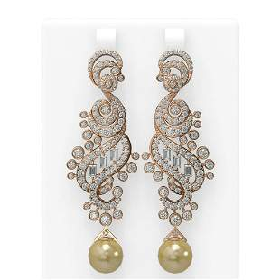 6.52 ctw Diamond & Pearl Earrings 18K Rose Gold -