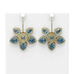 22.12 ctw Blue Topaz Diamond Earrings 18K Yellow Gold -