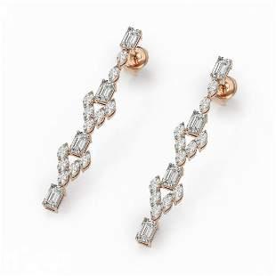 5.28 ctw Emerald Cut & Marquise Diamond Earrings 18K