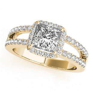 1.26 ctw Certified VS/SI Princess Diamond Halo Ring 14k