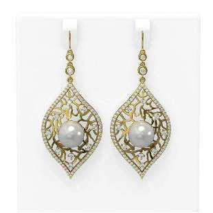 2.78 ctw Diamond & Pearl Earrings 18K Yellow Gold -