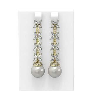 5.79 ctw Diamond & Pearl Earrings 18K Yellow Gold -