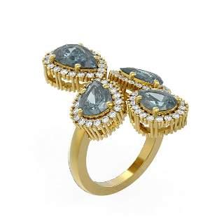6.41 ctw Blue Topaz & Diamond Ring 18K Yellow Gold -