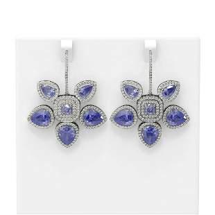 23.02 ctw Tanzanite Diamond Earrings 18K White Gold -