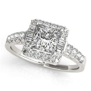1.65 ctw Certified VS/SI Princess Diamond Halo Ring 14k