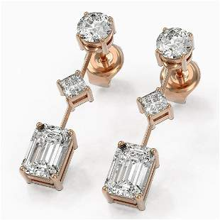 2.32 ctw Emerald Cut Diamond Designer Earrings 18K Rose
