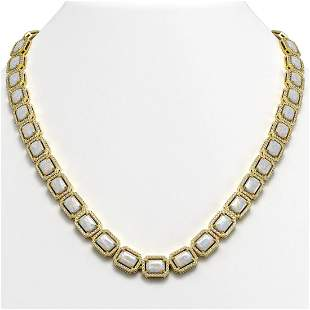 37.69 ctw Opal & Diamond Micro Pave Halo Necklace 10k
