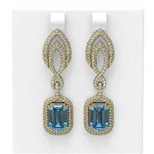 12.08 ctw Blue Topaz & Diamond Earrings 18K Yellow Gold