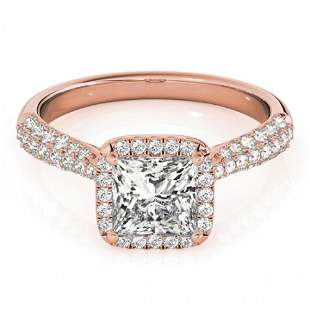1.15 ctw Certified VS/SI Princess Diamond Halo Ring 14k