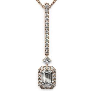 1.3 ctw Emerald Cut Diamond Designer Necklace 18K Rose