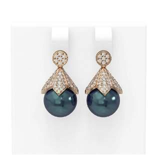 1.56 ctw Diamond & Pearl Earrings 18K Rose Gold -