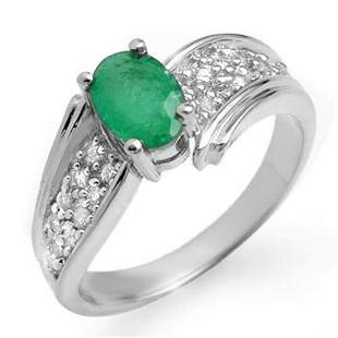 1.43 ctw Emerald & Diamond Ring 14k White Gold -