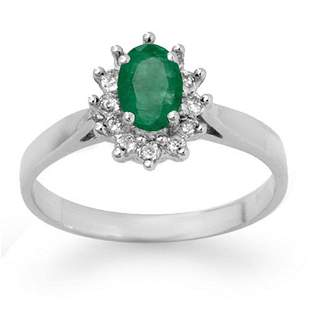 0.70 ctw Emerald & Diamond Ring 14k White Gold -