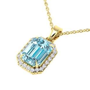 6 ctw Sky Blue Topaz & Micro Pave Diamond Necklace 18k
