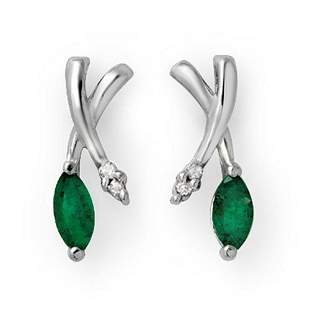 0.50 ctw Emerald & Diamond Earrings 14k White Gold -