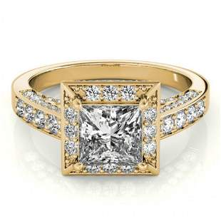 1.5 ctw Certified VS/SI Princess Diamond Halo Ring 14k