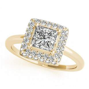 0.8 ctw Certified VS/SI Princess Diamond Halo Ring 14k