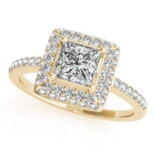 0.85 ctw Certified VS/SI Princess Diamond Halo Ring 14k
