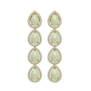6.2 ctw Opal & Diamond Micro Pave Halo Earrings 10k