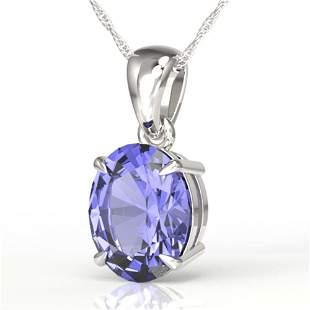 3.50 ctw Tanzanite Designer Necklace 18k White Gold -
