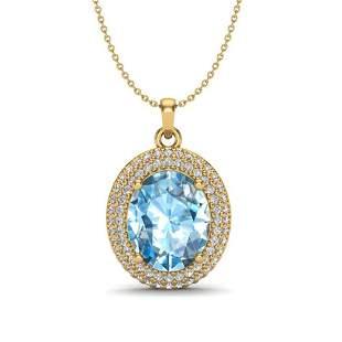 5 ctw Sky Blue Topaz & Micro Pave Diamond Necklace 18k