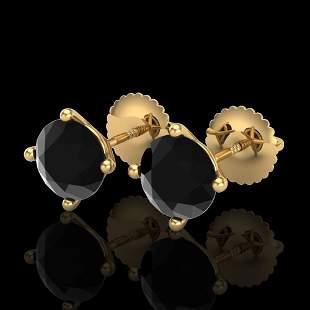 2 ctw Fancy Black Diamond Art Deco Stud Earrings 18k