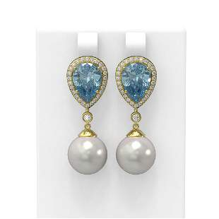 5.83 ctw Blue Topaz & Diamond Earrings 18K Yellow Gold
