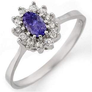 0.60 ctw Tanzanite & Diamond Ring 18k White Gold -