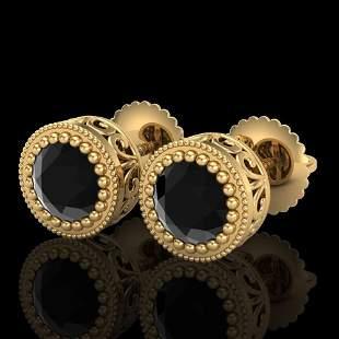 1.09 ctw Fancy Black Diamond Art Deco Stud Earrings 18k