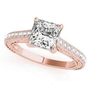 0.8 ctw Certified VS/SI Princess Diamond Ring 14k Rose
