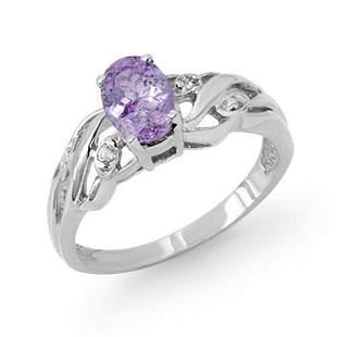 0.72 ctw Tanzanite & Diamond Ring 18k White Gold -