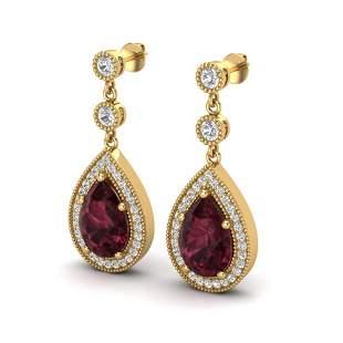 4.50 ctw Garnet & Micro Pave VS/SI Diamond Earrings 18k