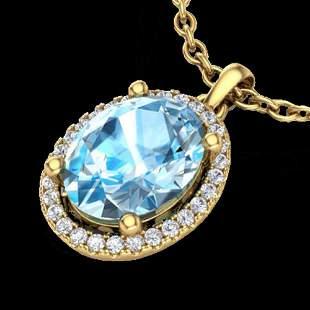 3 ctw Sky Blue Topaz & Micro Pave Diamond Necklace 18k