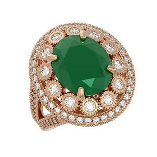 8.76 ctw Certified Emerald & Diamond Victorian Ring 14K