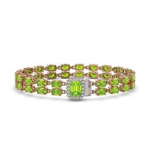 16.92 ctw Peridot & Diamond Bracelet 14K Rose Gold -
