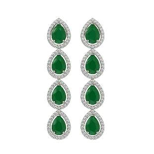 10.2 ctw Emerald & Diamond Micro Pave Halo Earrings 10k