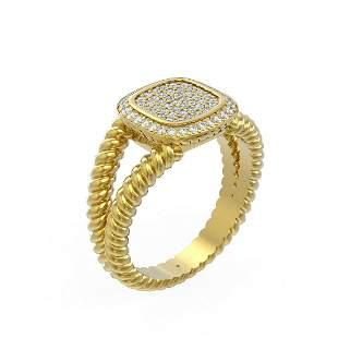 0.54 ctw Diamond Ring 18K Yellow Gold - REF-117N3F